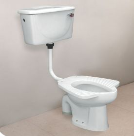 Ambani White Ceramic Glossy Toilet Europe/Western Closet (EWC) HARNI-Anglo-Indian-3009-S-TRAP